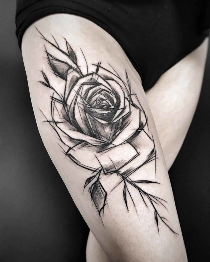 thigh tattoo rose black and grey