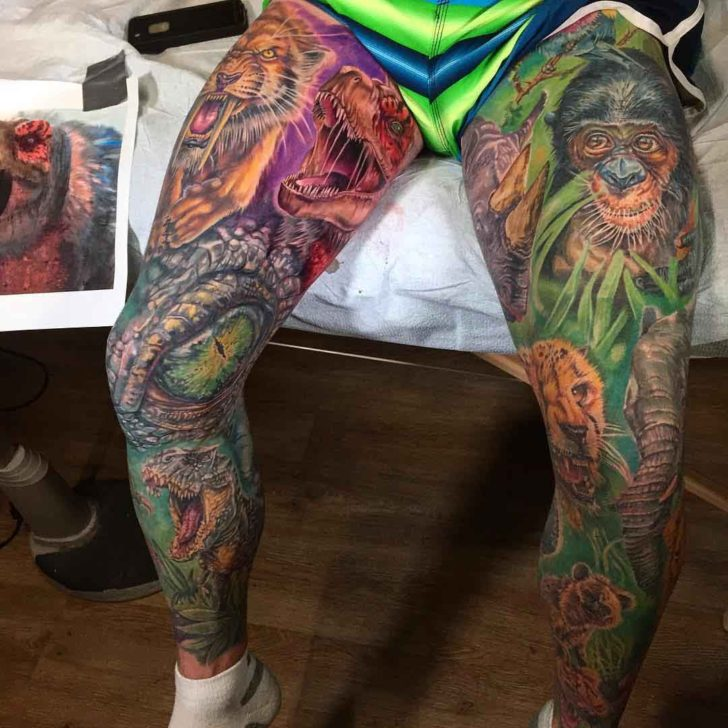 Animals Leg Tattoo Sleeves
