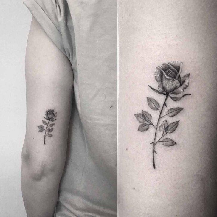 Back Arm Small Rose Tattoo