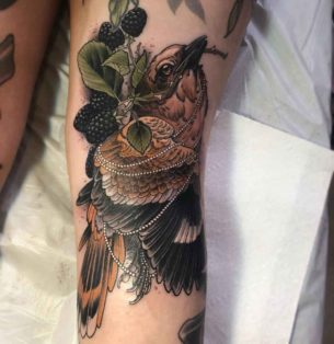 Bird with Beads Tattoo