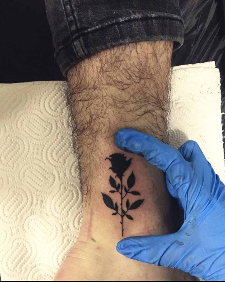 Black Small Rose Tattoo on Ankle