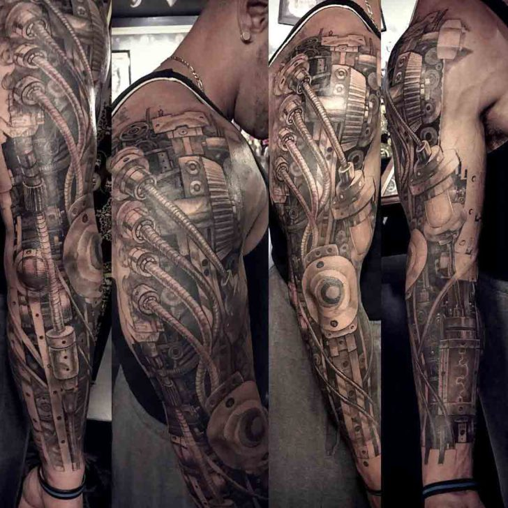 Black and Grey Mechanical Tattoo Sleeve