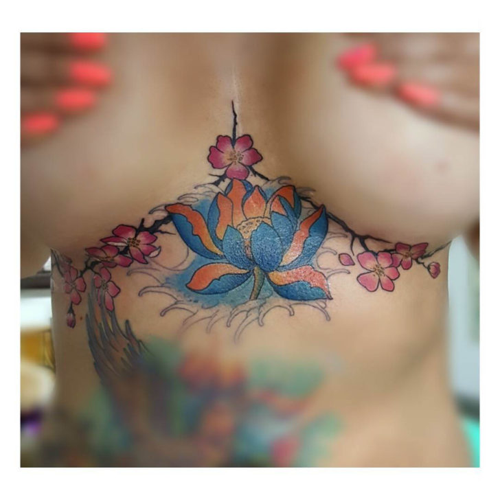 Blue Flower Under Breast Tattoo