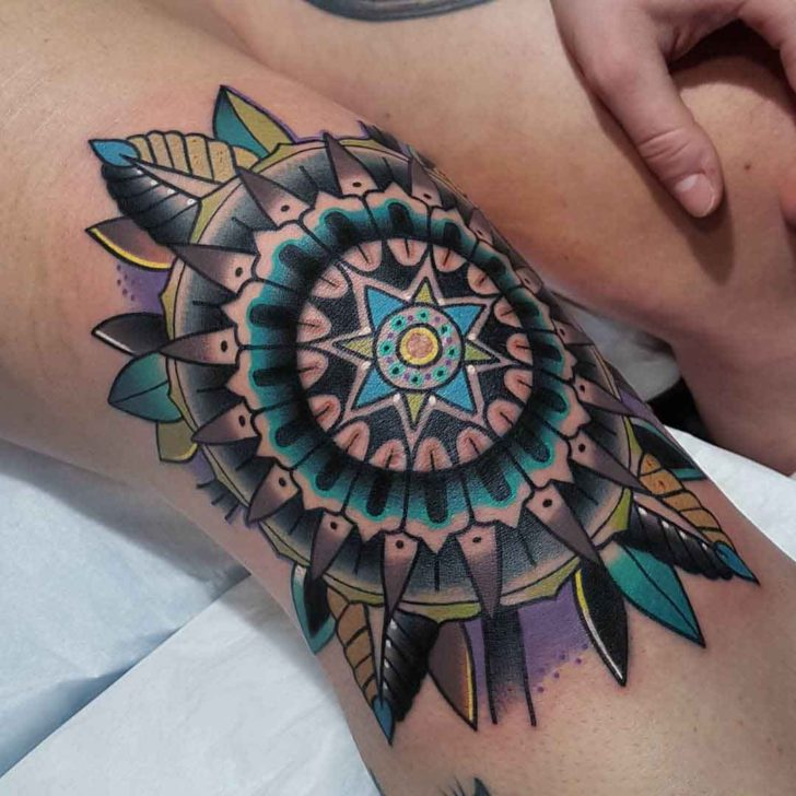 knee tattoo blue mandala