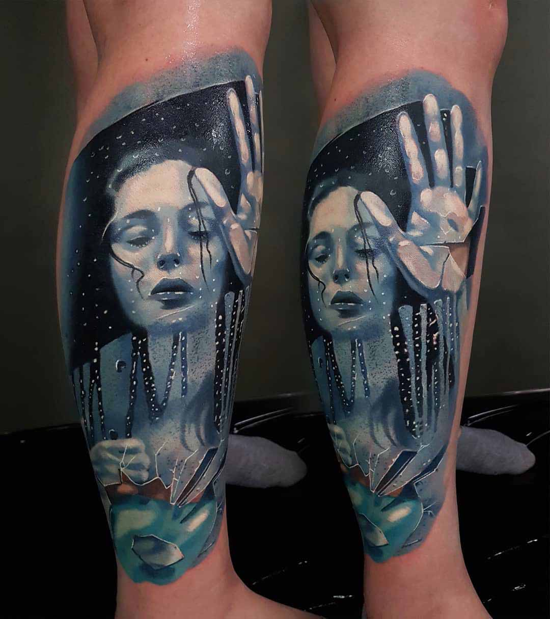 women inside the broken mirror tattoo