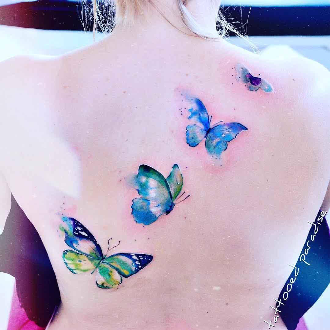 back tattoo butterflies