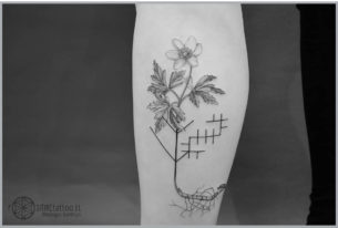 Small Calf Flower Tattoo