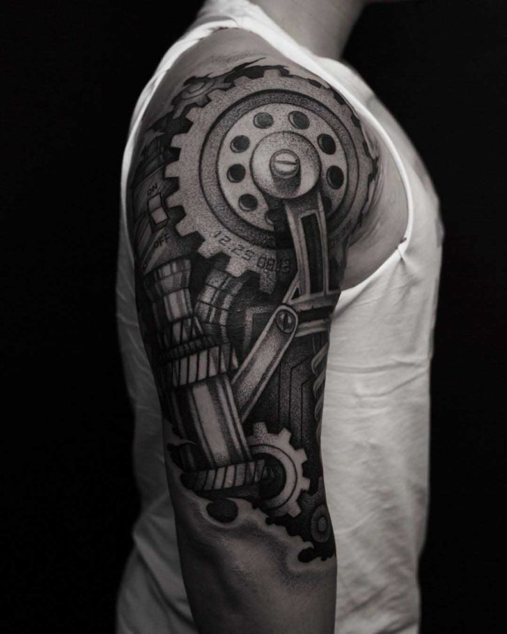 Cogwheels Shoulder Tattoo
