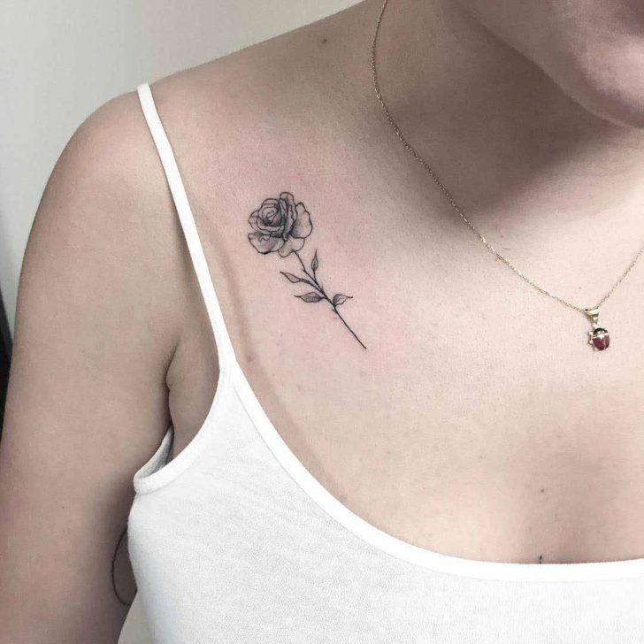 Collar Bone Small Rose Tattoo