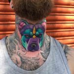 Colorful Dog Tattoo on Neck