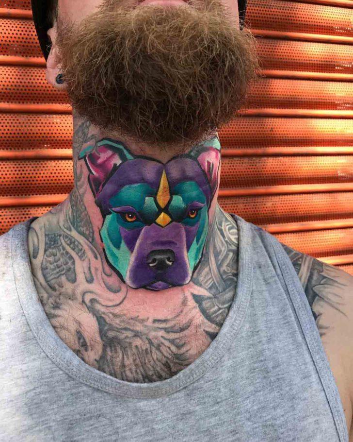 neck tattoo dog