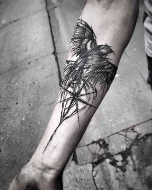 Compass Bird Tattoo on Arm
