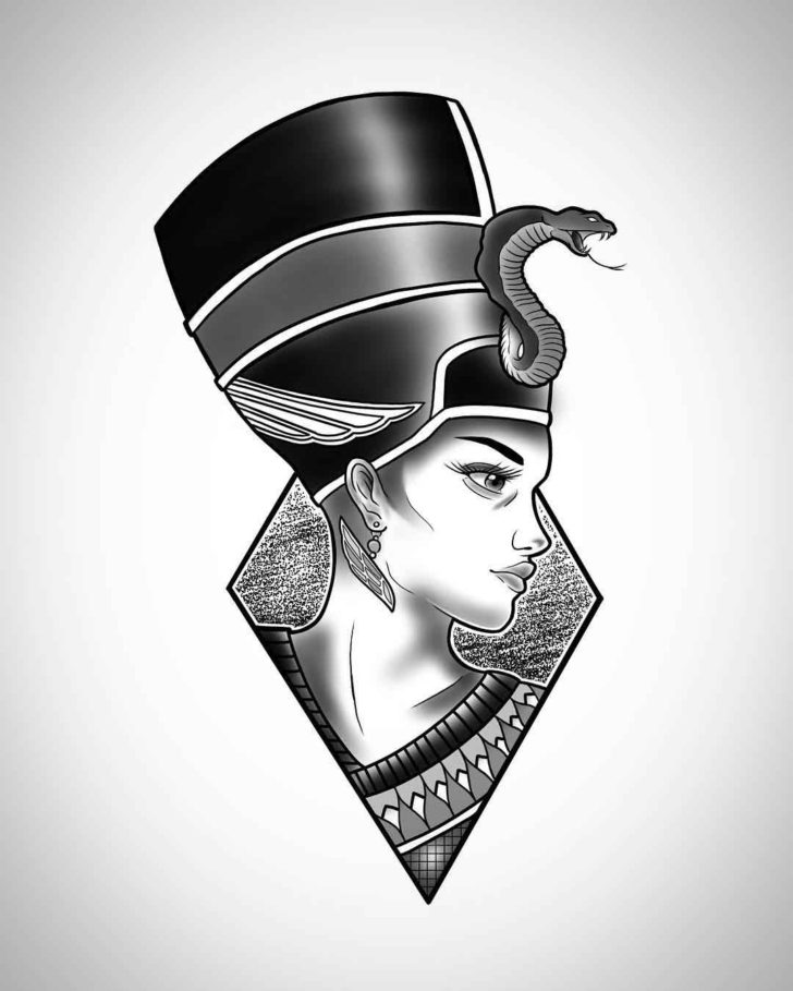 Cool Nefertiti Tattoo Design