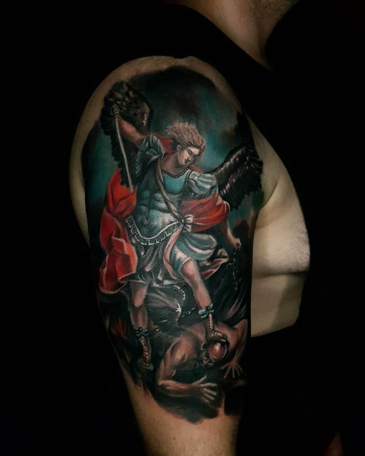 Cool St. Micahel Tattoo on Shoulder