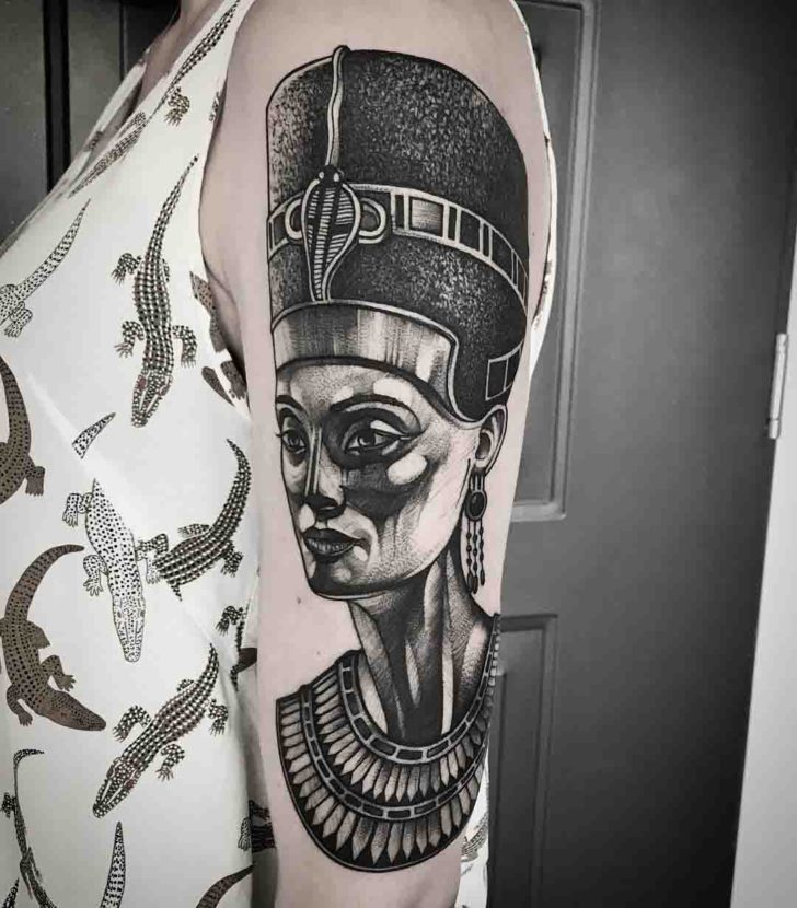 Dark Grey Nefertiti Tattoo