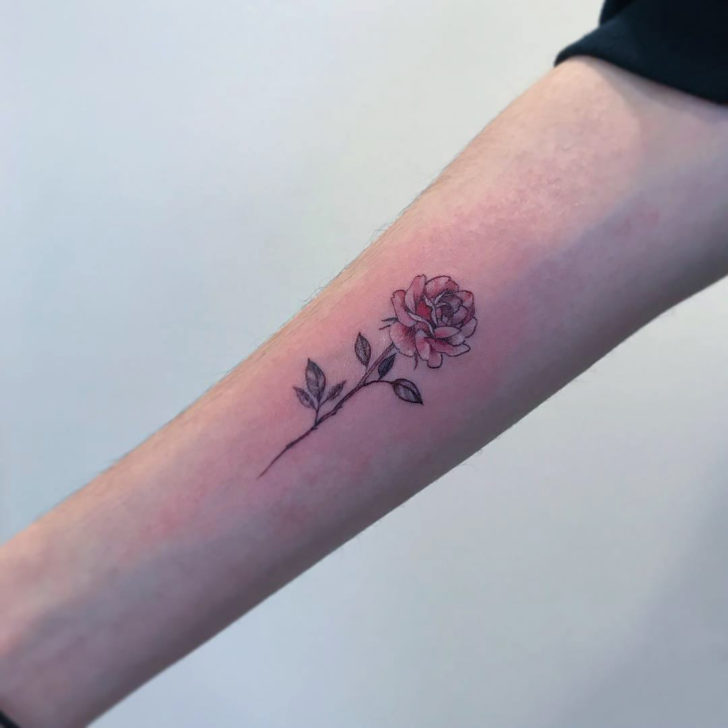 Detailed Small Rose Tattoo on Forearm