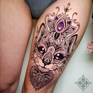 Dotwork Mehendi Ornament Cat Tattoo