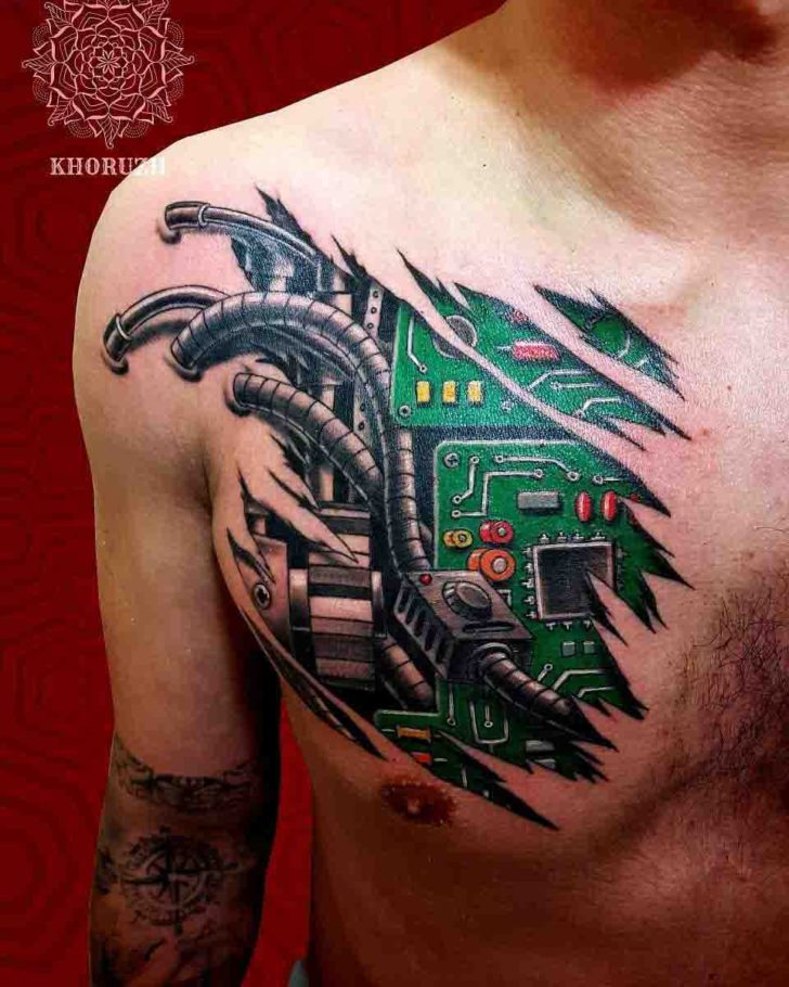 Electronic Tattoo on Cheast