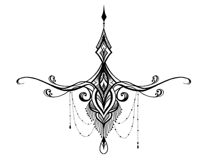 Elegant Under Breast Tattoo Design