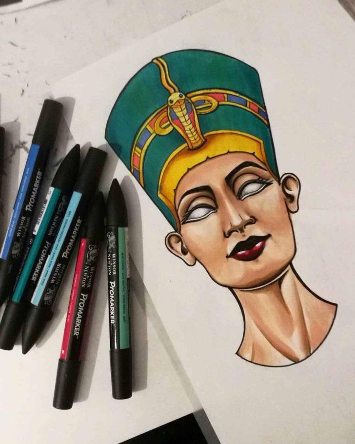 Eyeless Nefertiti Tattoo Design