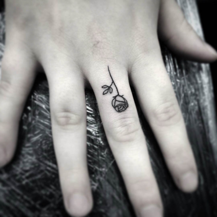 Finger Small Rose Tattoo
