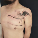 Flamingo Tattoo on Chest
