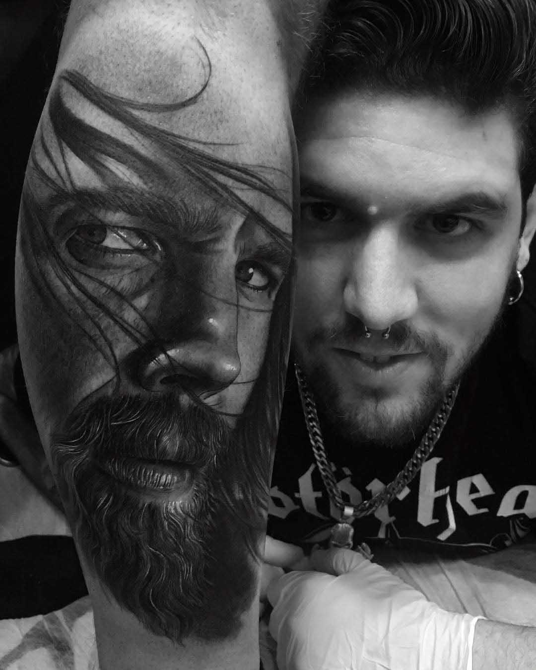 realistic portrait tattoo black and grey