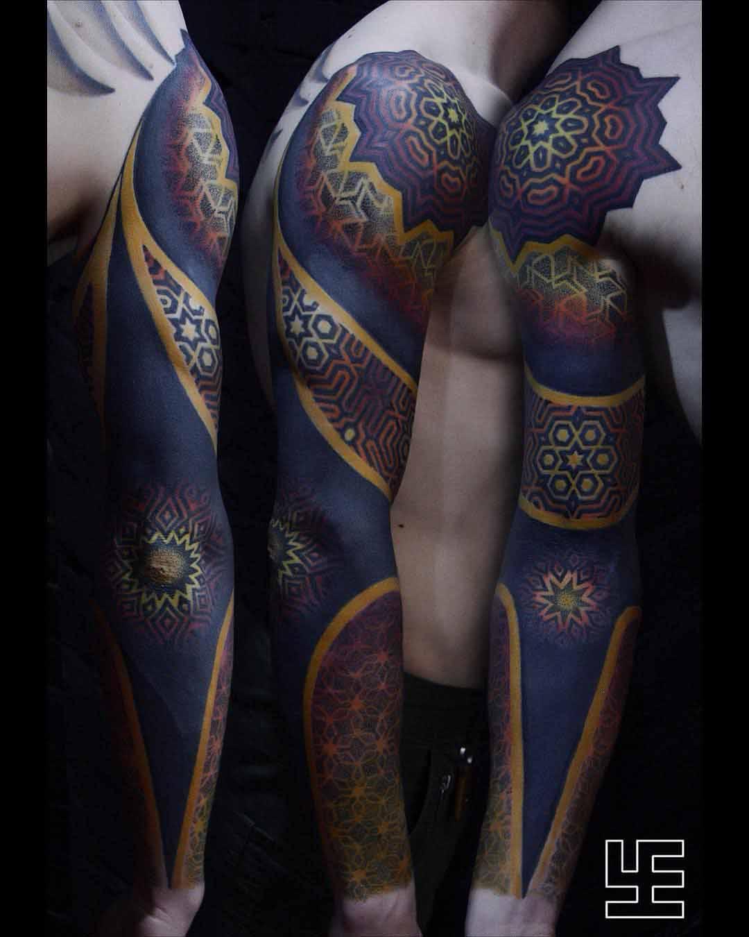 dotwork pattern tattoo sleeve