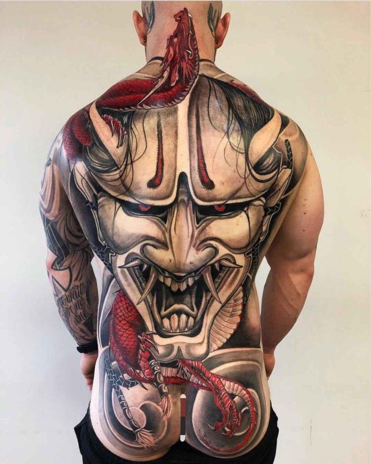 hannya mask tattoo on full back