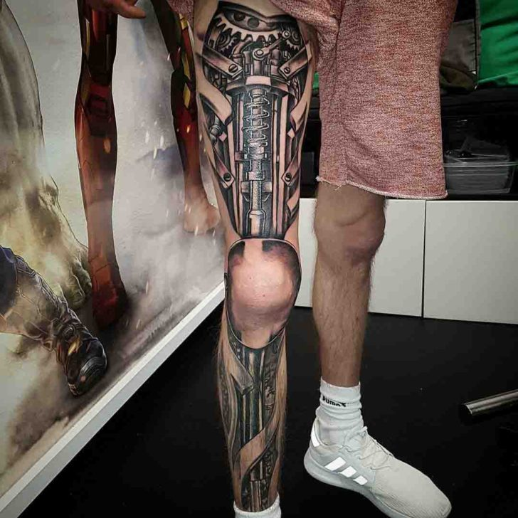 Full Leg Mechanic Tattoo