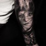 Graphic Realistic Portrait Tattoo Forest