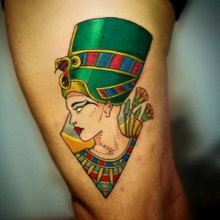 Green Nefertiti Tattoo