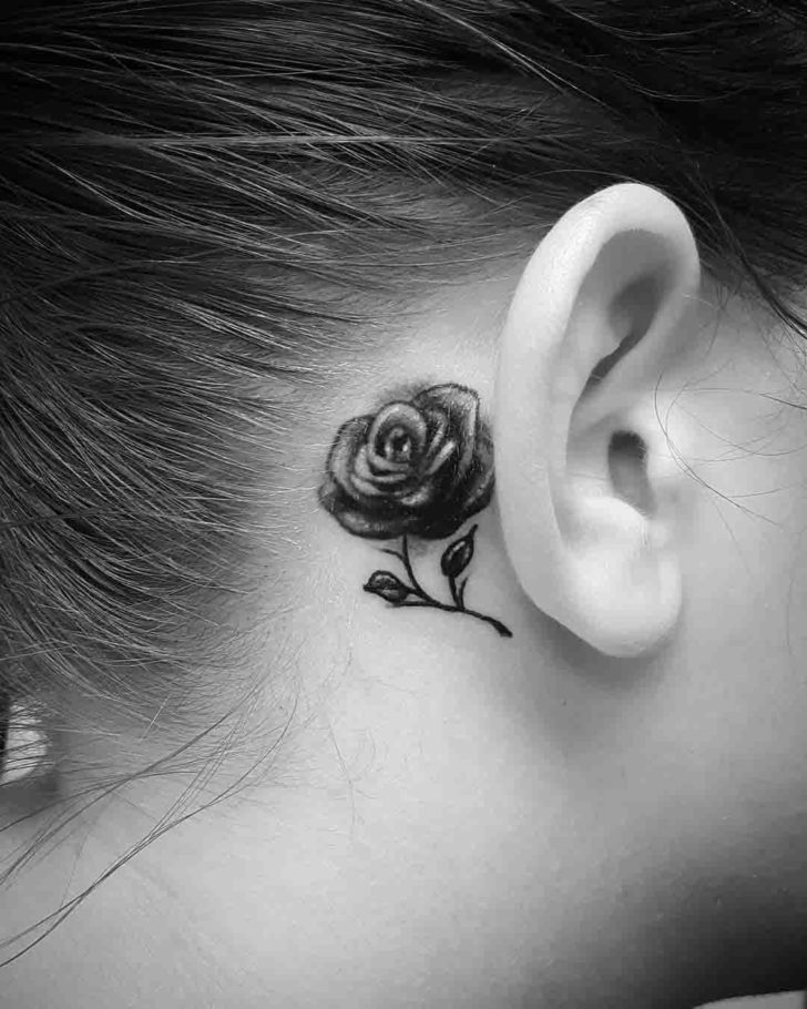 Grey Rose Tattoo Behind Ear