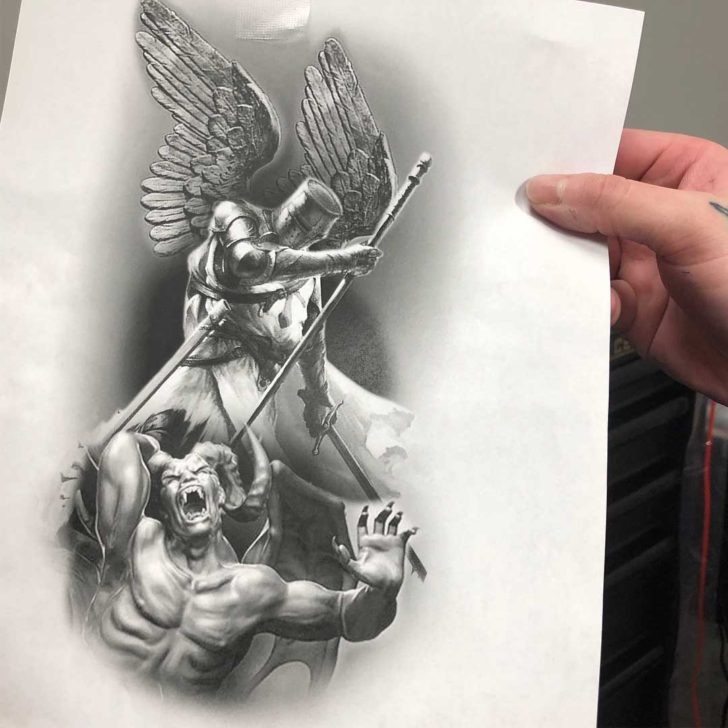 Grey St. Micahel Tattoo Design