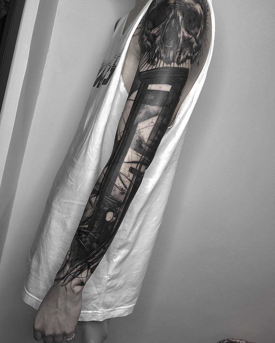 full tattoo sleeve guillotine