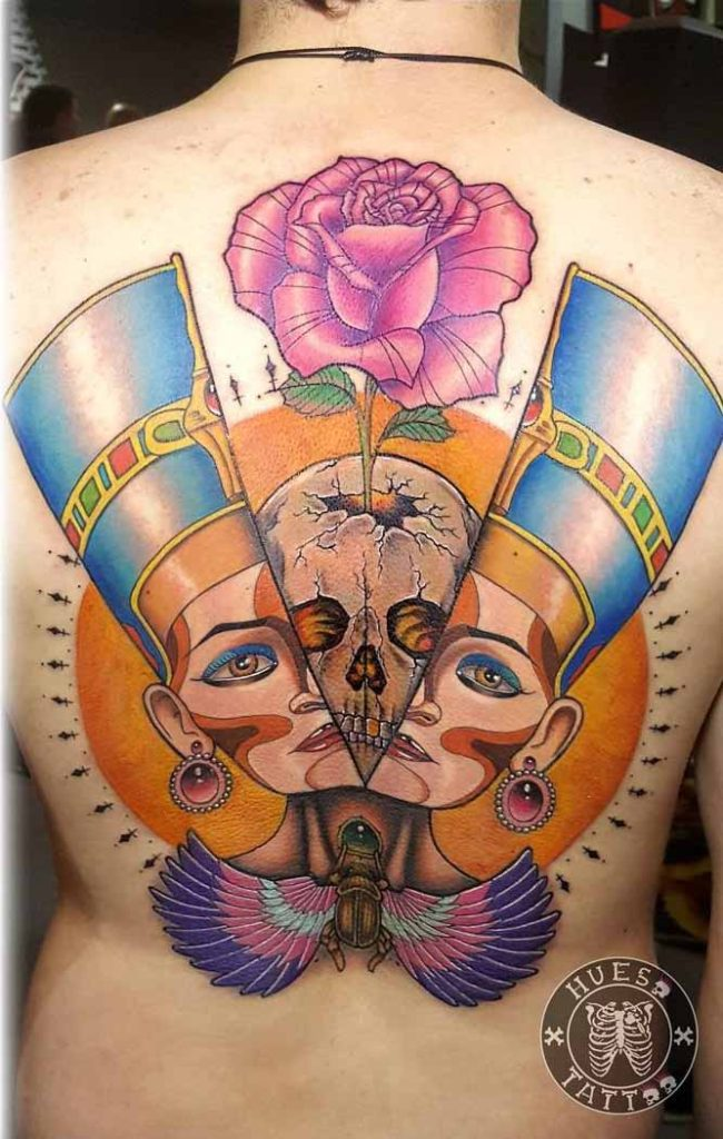Hidden Skull Nefertiti Tattoo on Back