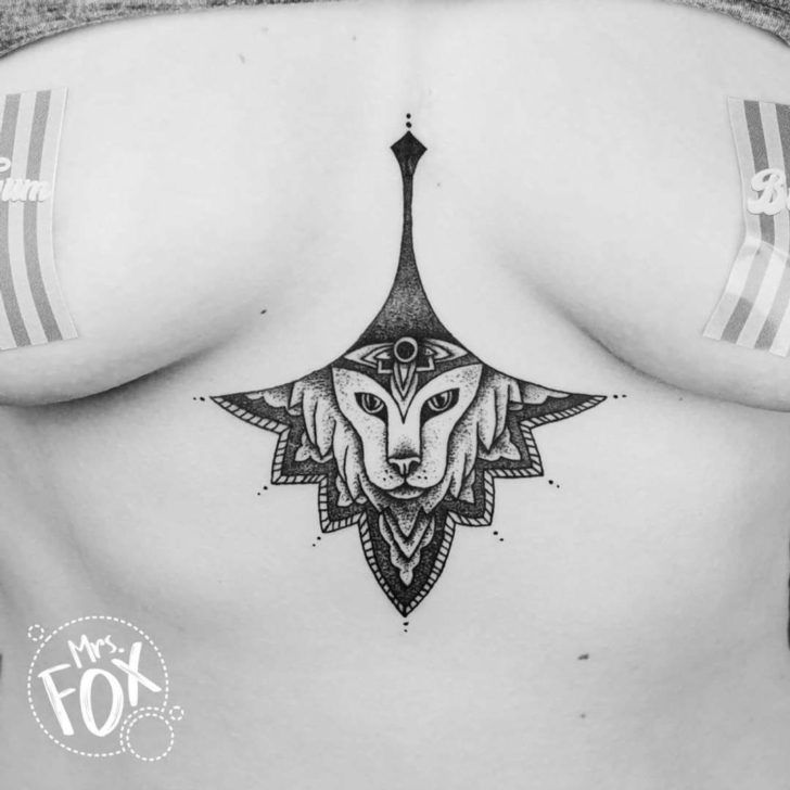 Lion Mandala Under Breast Tattoo