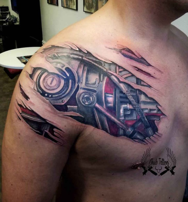 Mech Body Under Skin Tattoo