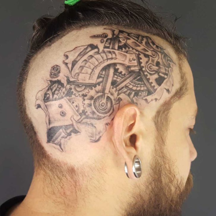 Mechanic Tattoo on Head