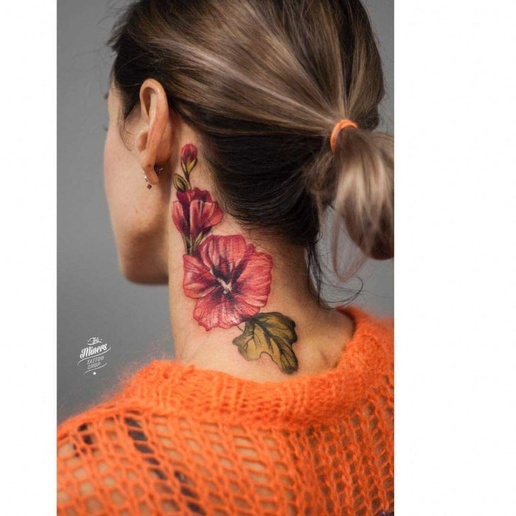 flower tattoo on neck