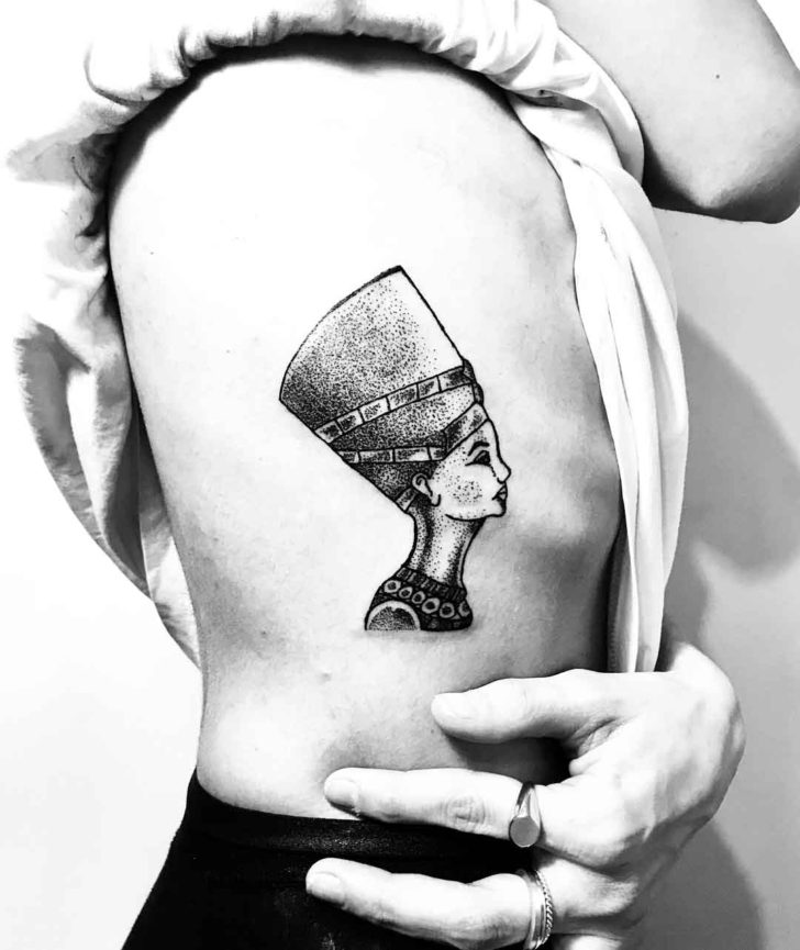 Nefertiti Tattoo Under Ribs
