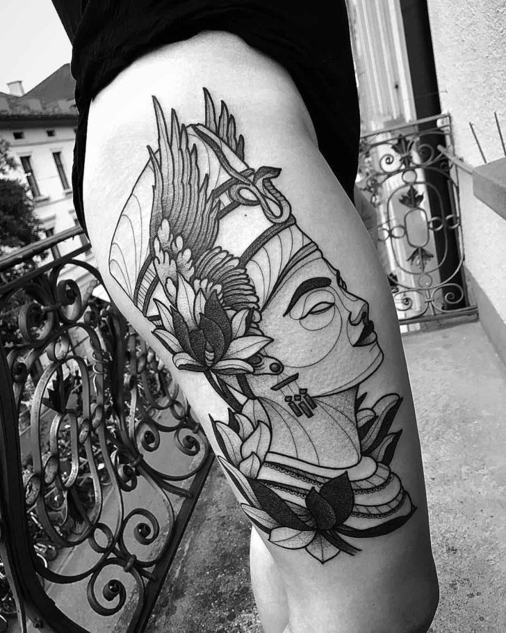 Nefertiti Tattoo on Hip