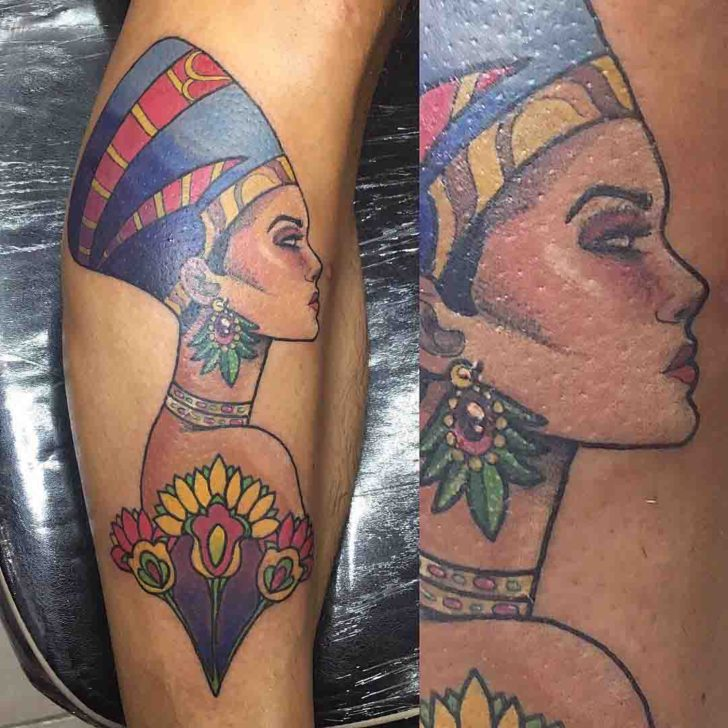 Nefertiti Tattoo on Shin