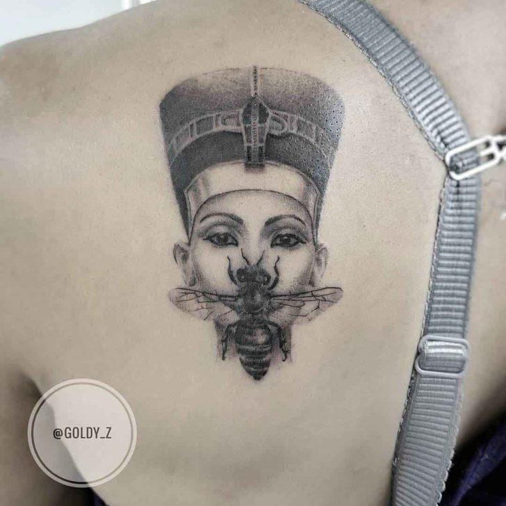 Nefertiti Tattoo on Shoulder Blade