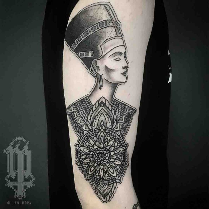 Nefertiti Tattoo with Mandala