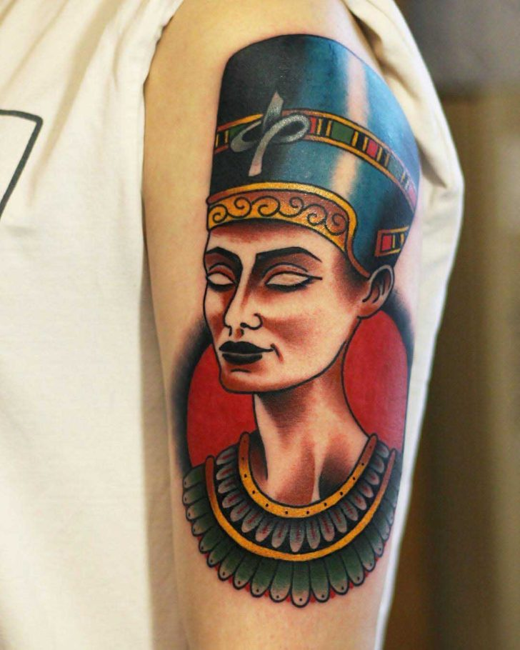 Neo-Traditional Nefertiti Tattoo