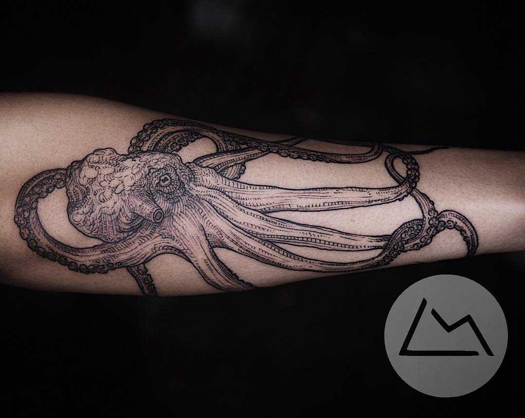 forearm tattoo octopus