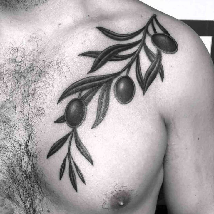 Olive Branch Tattoo on Chest