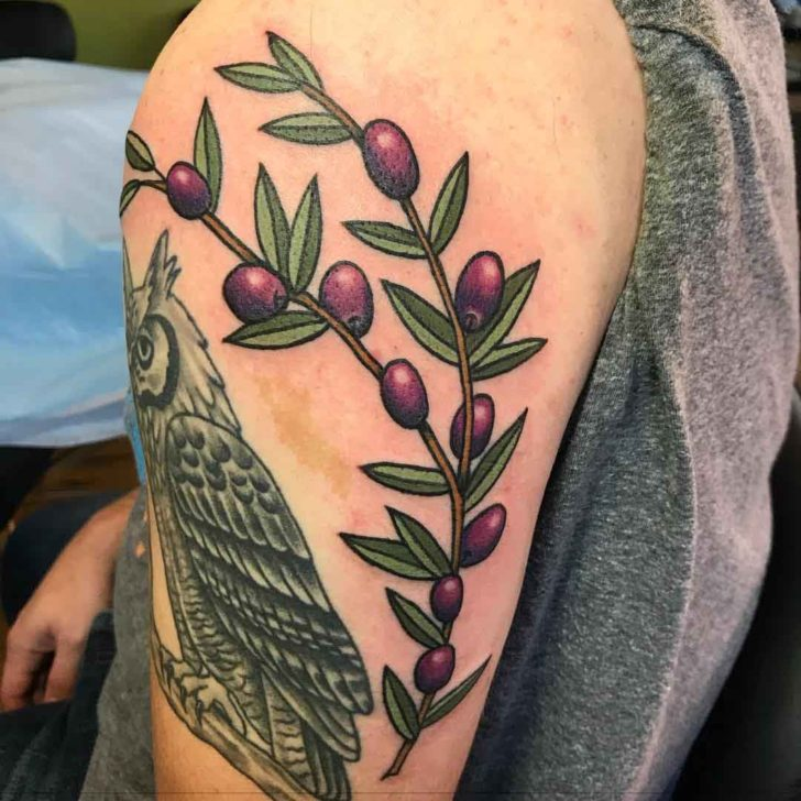 Olive Branch Tattoo on Shoulder
