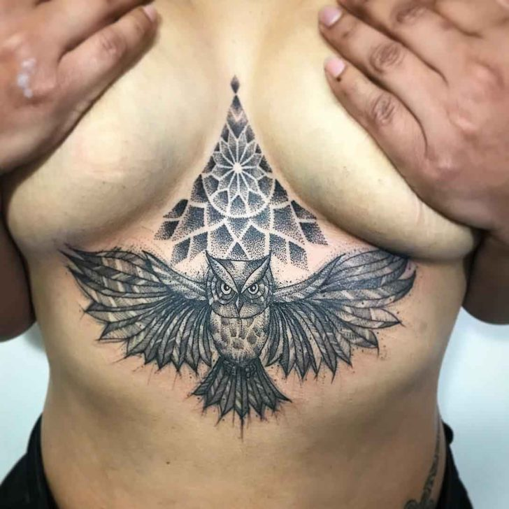Owl Under Breast Tattoo Dotwork